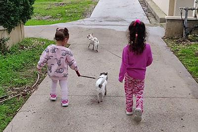 הבנות של אלמוג קינן עם הכלבים שלהם